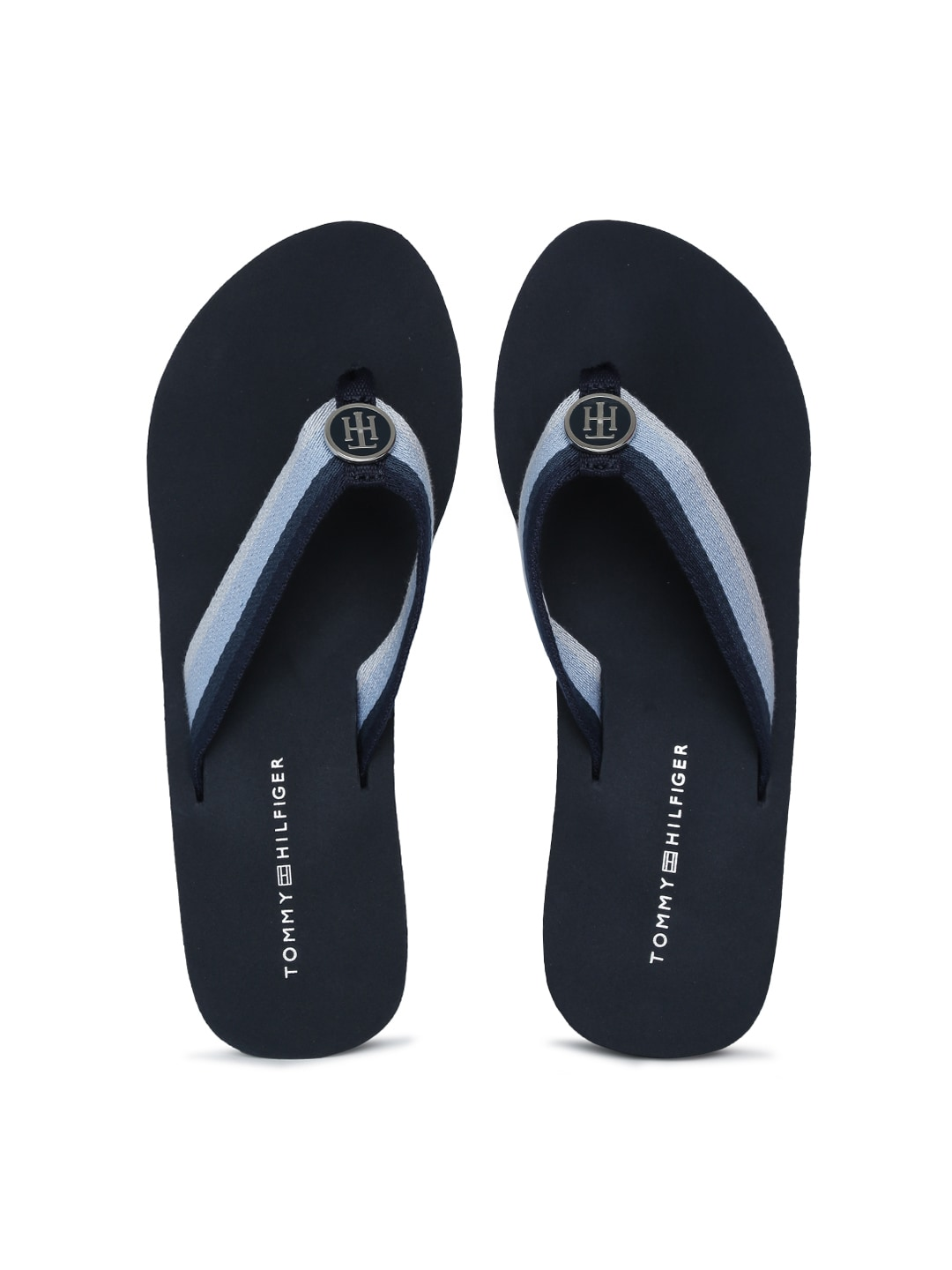 latest discount classic shoes detailing Tommy Hilfiger Women Blue Striped Thong Flip-Flops