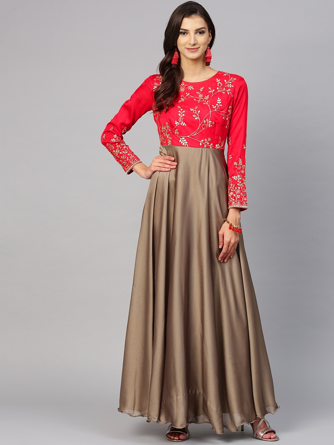89382724722 Inddus Women Taupe   Red Solid Maxi Dress with Embroidered Detail