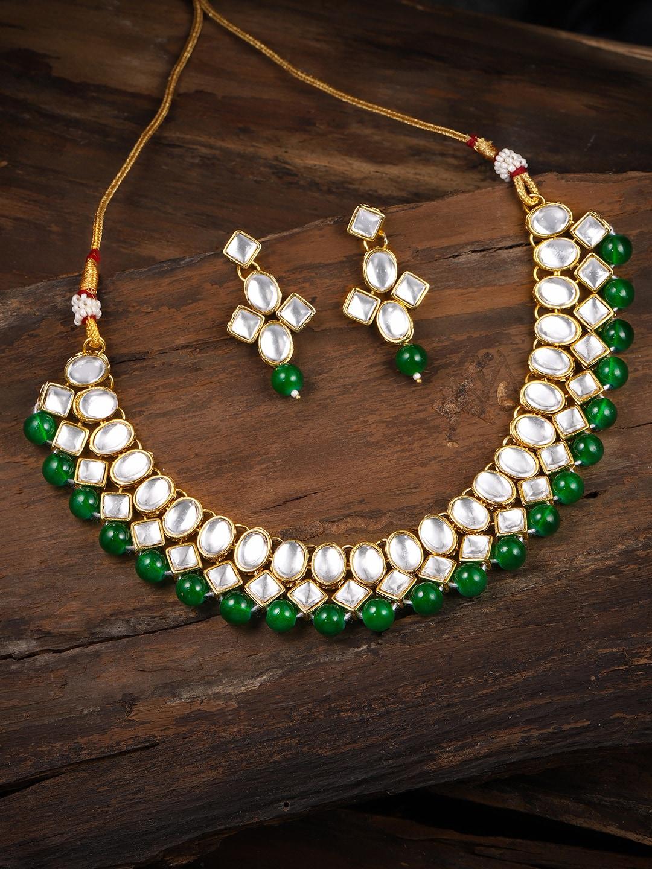 13387c3e1022d Zaveri Pearls Gold Toned Kundan & Green Beads Jewellery Set