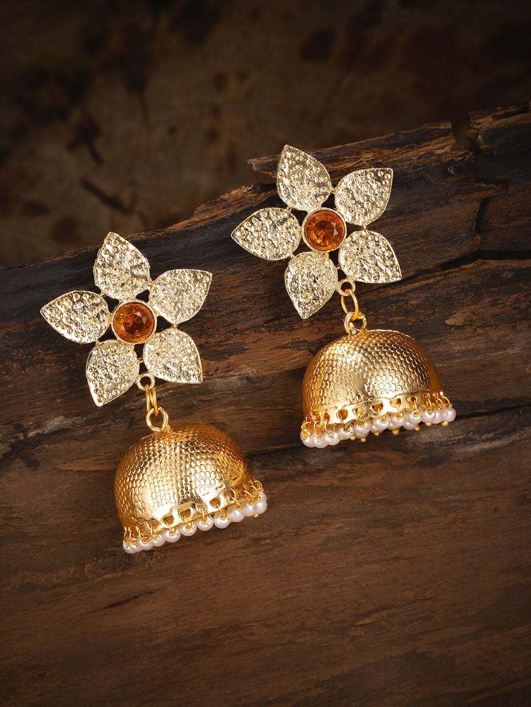 b8b2a97736137 Zaveri Pearls Gold-Toned Dome Shaped Jhumkas