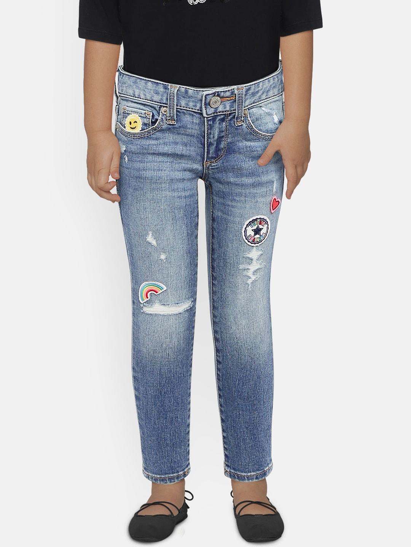 5530ecde6bd54 GAP Girls Superdenim Embroidered Patch Super Skinny Jeans with Fantastiflex