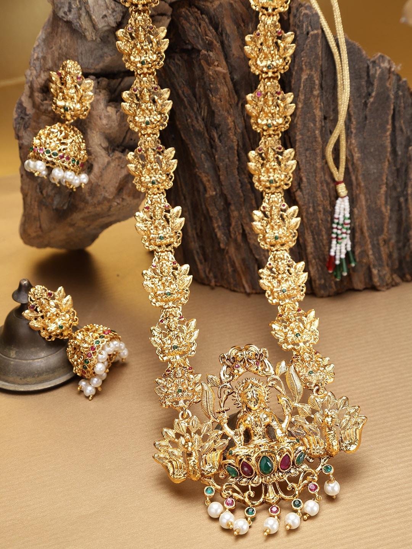 damani Gold-Toned & Maroon Stone-Studded Temple Jewellery Set