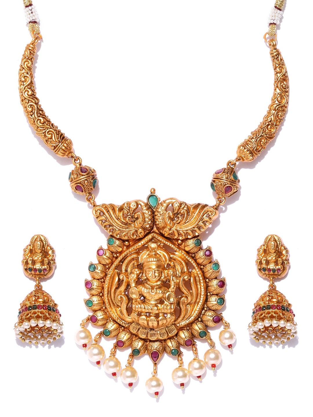 damani Gold-Toned & Maroon Stone-Studded Temple Jewellery Set