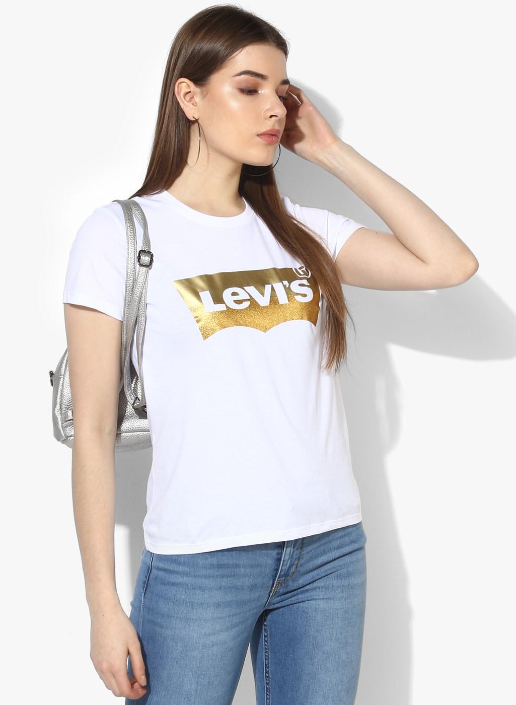 womens white printed t shirt