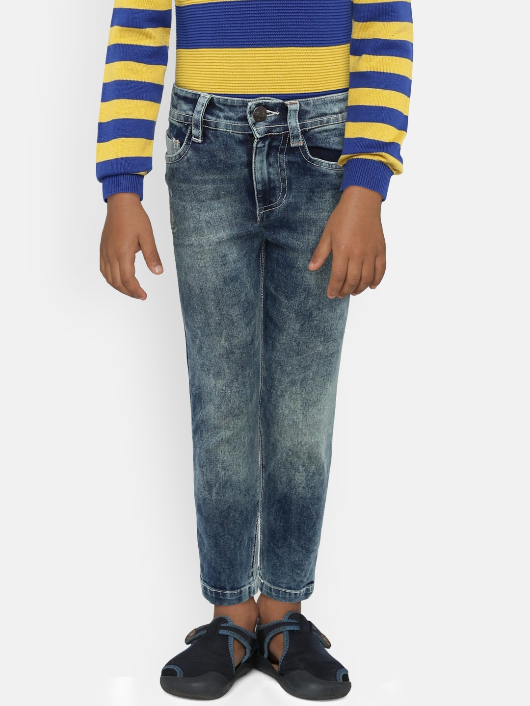 47a14ed3e8 UFO Boys Blue Regular Fit Mid-Rise Clean Look Jeans