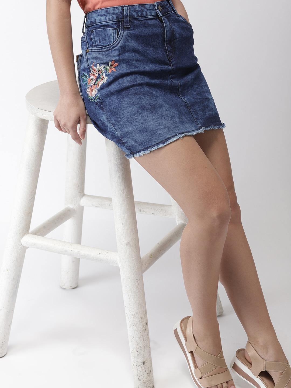 b48c0d13a2 Denim Midi Skirt With Front Split