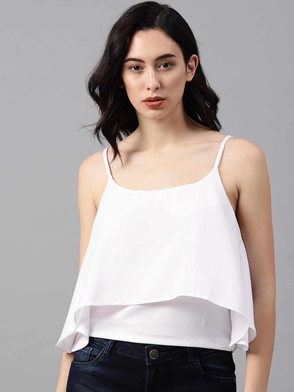 3db0f851637 NUSH Women White Solid Top