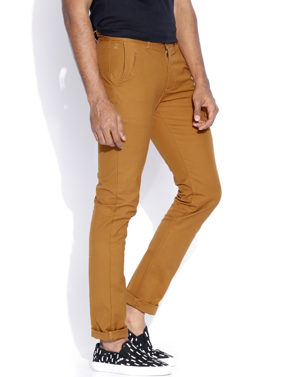 United Colors of Benetton Rust Brown Slim Fit Trousers