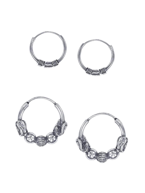 c5f137bb8f58c Taraash 925 Sterling Silver Set of 2 Antique Circular Hoop Earrings