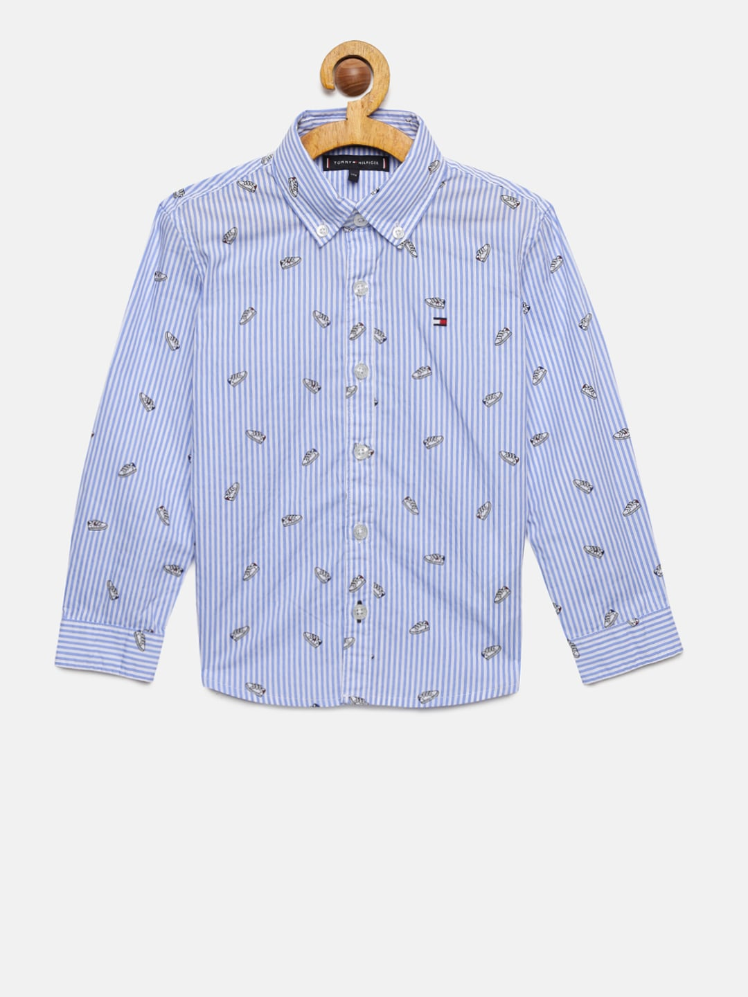 Tommy Hilfiger Boys White & Blue Regular Fit Striped Casual Shirt