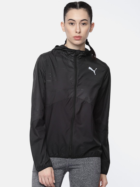 f88734d4 Puma Women Black Solid Ignite Wind Hooded windCELL Sporty Jacket