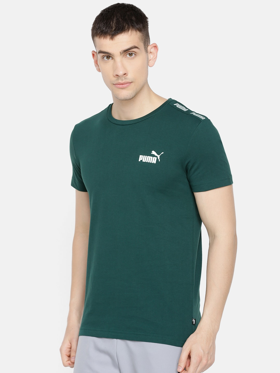 Green Slim Solid Men T Shirt Round Neck Fit Puma 8n0wkXPO
