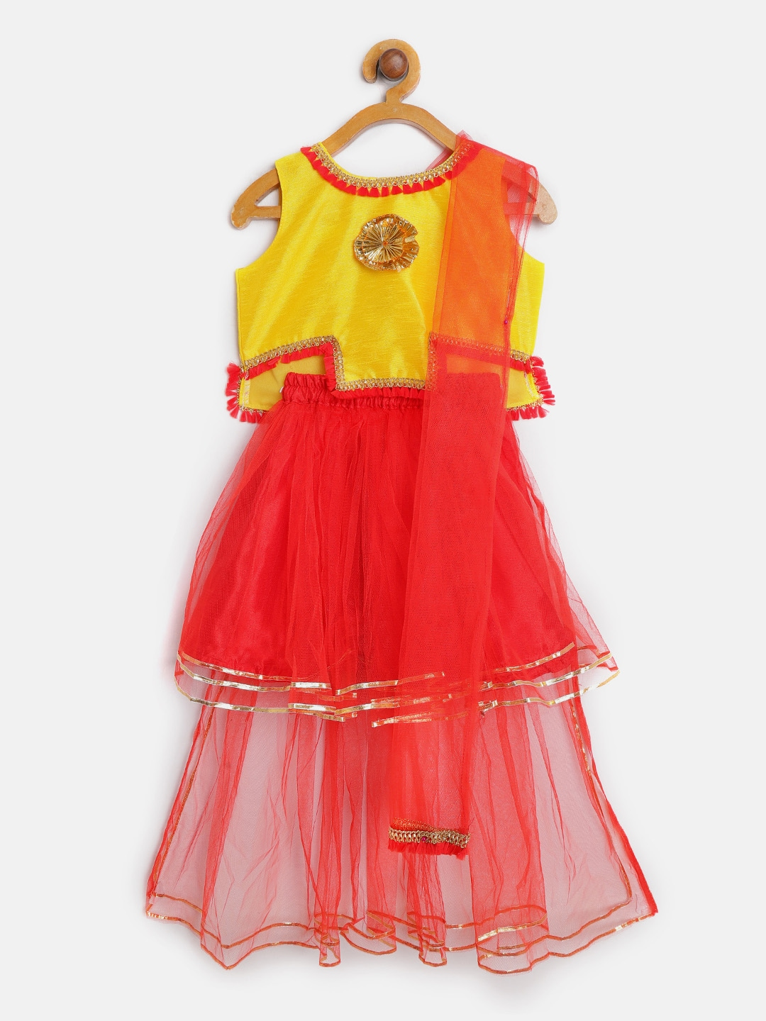 a95b0b727 BownBee Girls Red   Yellow Embellished Ready to Wear Lehenga   Blouse with  Dupatta