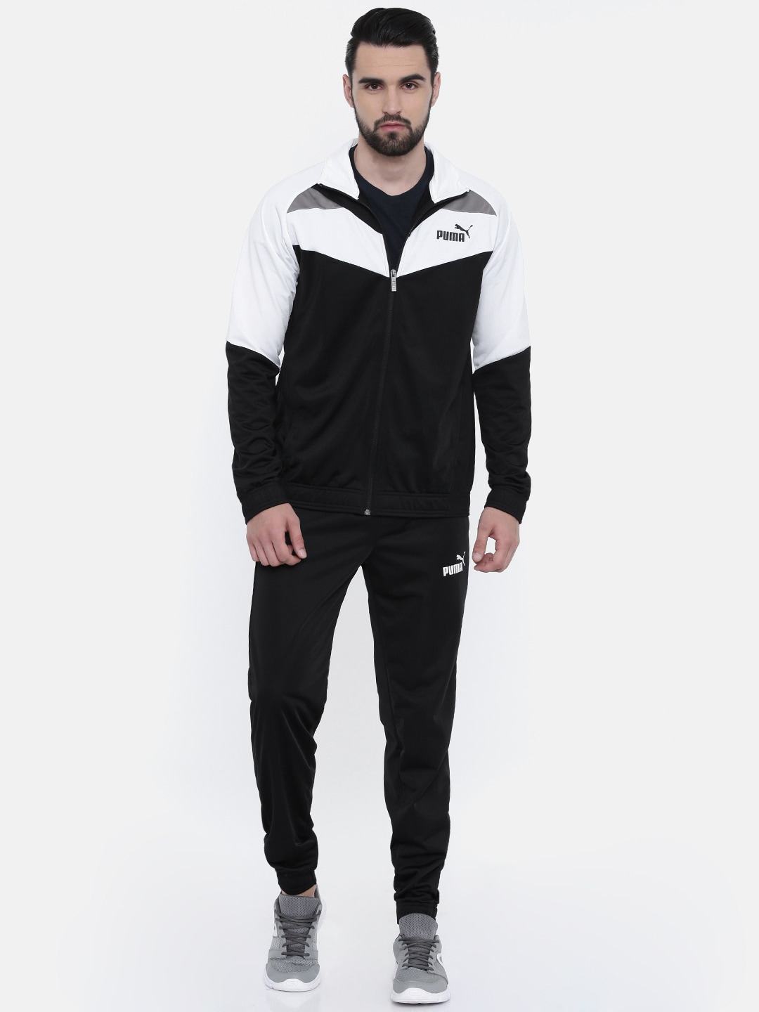 362310582a Puma Men Black & White Colourblocked Iconic Tricot Cl Tracksuit