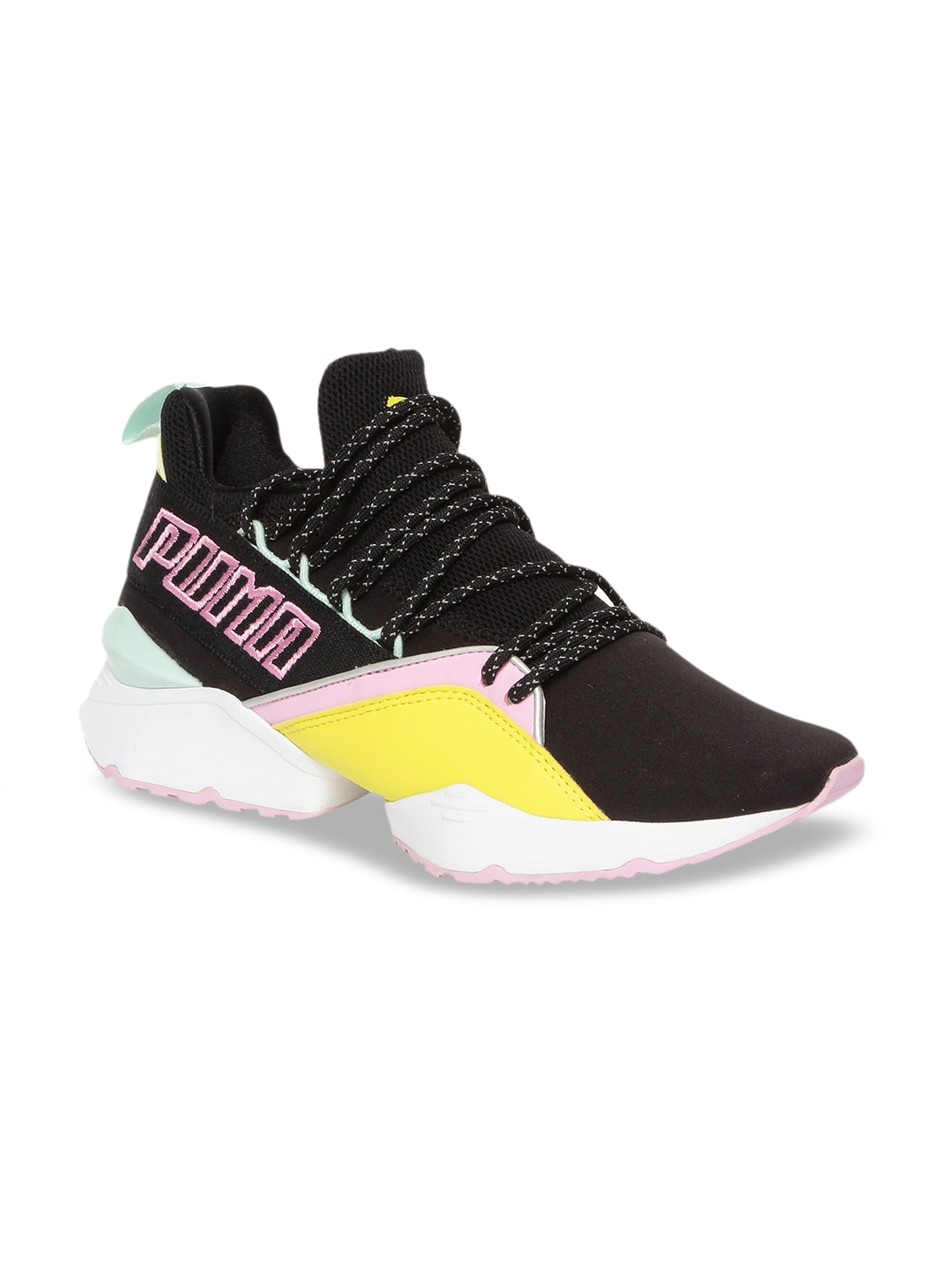 ca2777a4a0827 Puma Women Black & Yellow Muse Maia TZ Wn s Sneakers