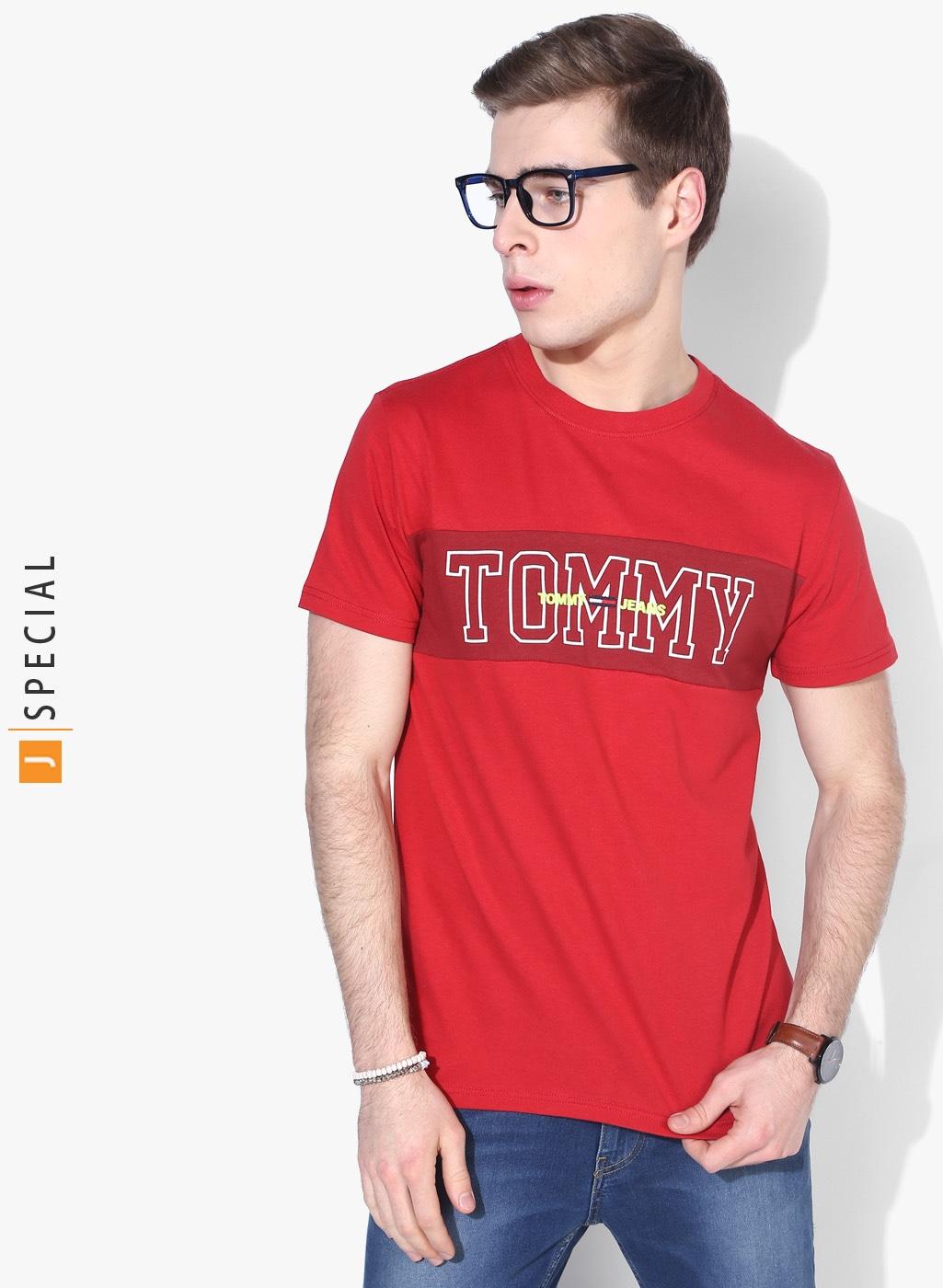 Tommy Hilfiger Men Lavender Printed Round Neck T shirt