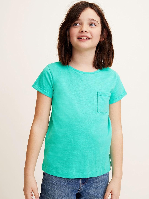 67b46a5b98c Mango Kids Girls Green Solid Round Neck T-shirt