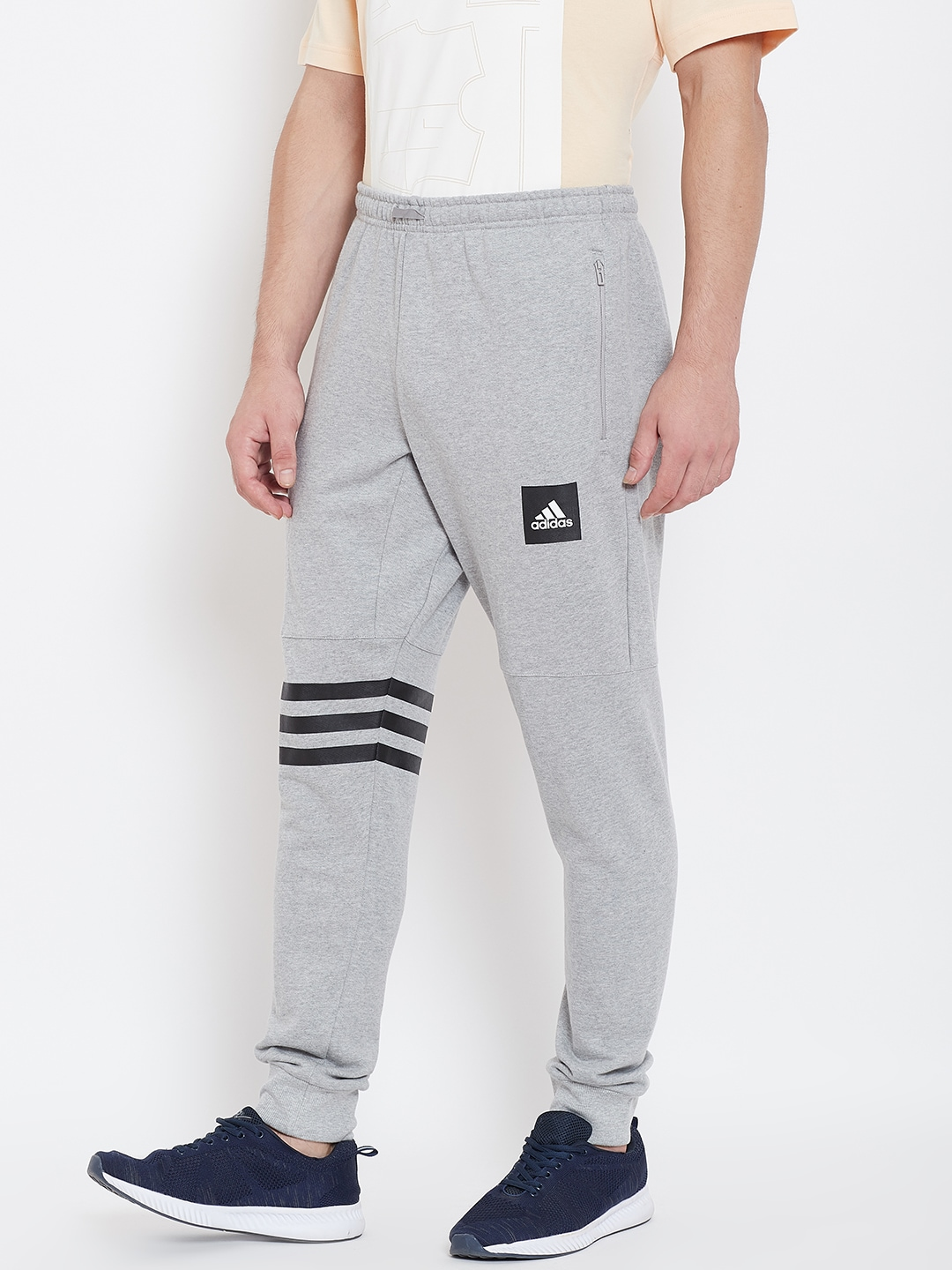ADIDAS Men Grey Melange Solid ID Heavy Terry Joggers