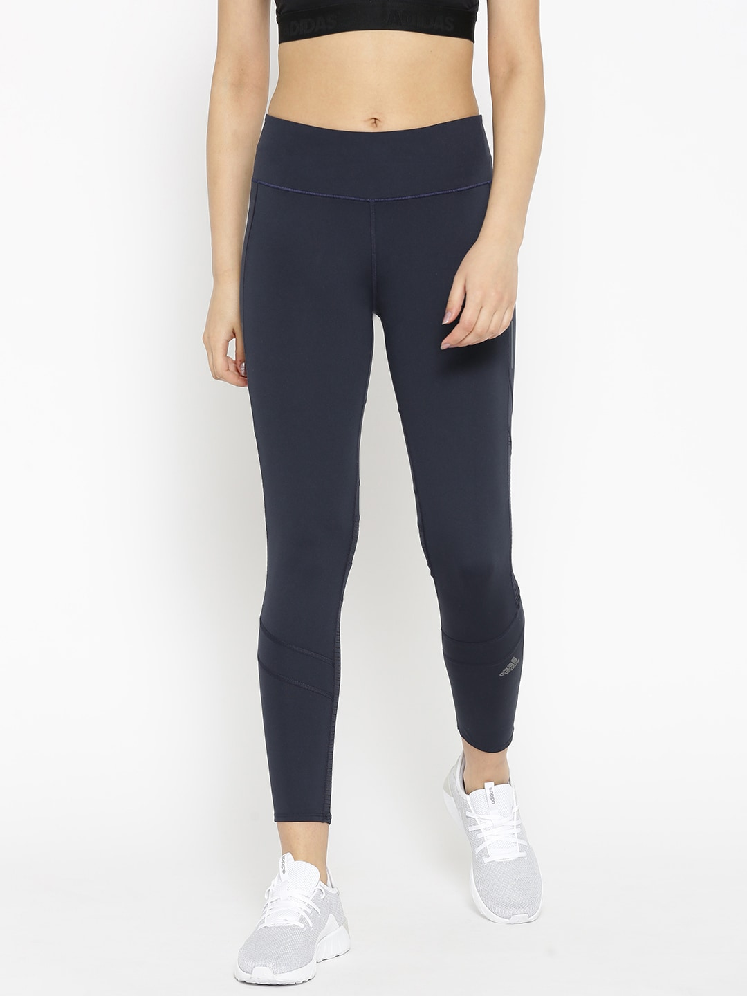 ADIDAS Women Navy Blue Solid How We Do 34 Tights