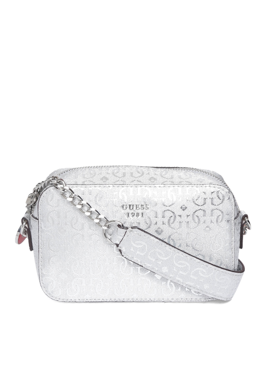 GUESS Silver-Toned Textured Sling Bag