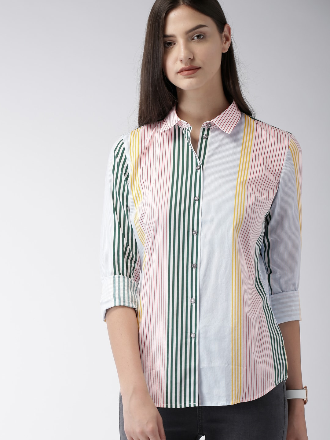 Tommy Hilfiger Women Multicoloured Fitted Striped Casual Shirt