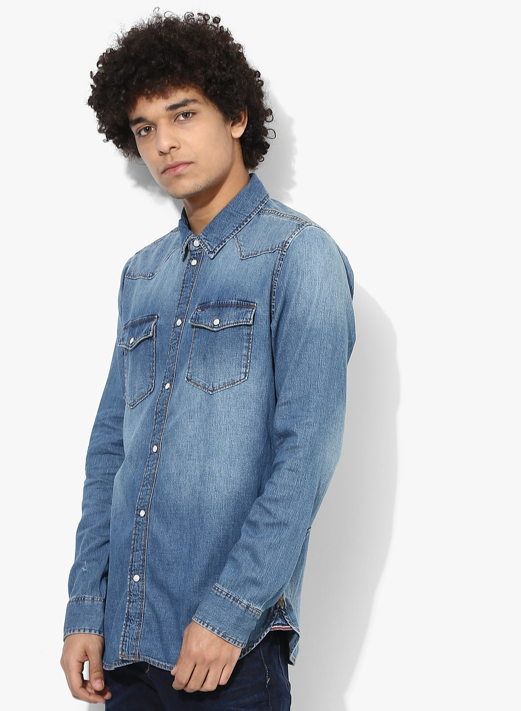 Tommy Hilfiger Blue Faded Regular Fit Casual Shirt