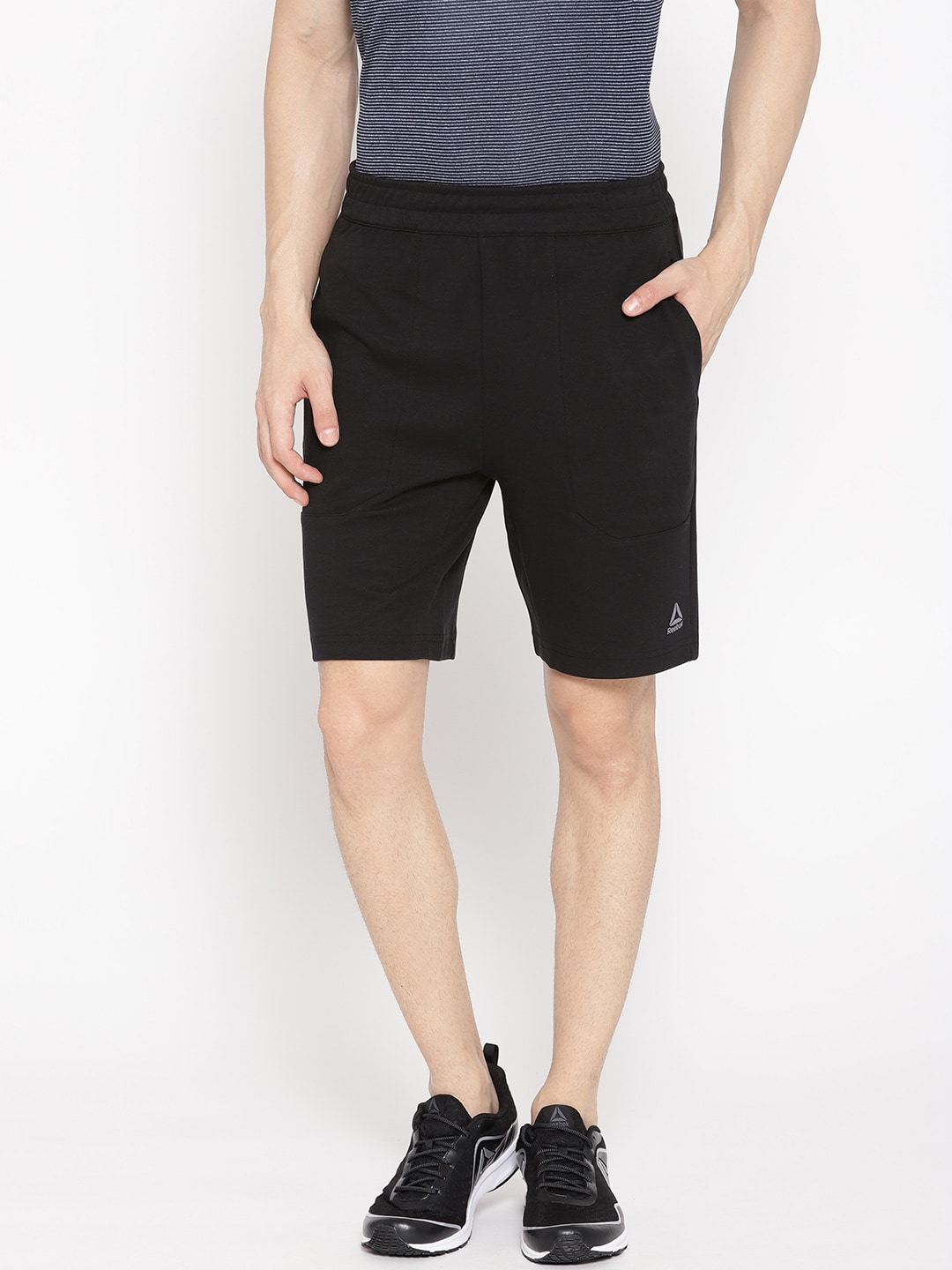 a23682dc1c Reebok Men Black Solid WOR Melange Doubleknit Training Shorts