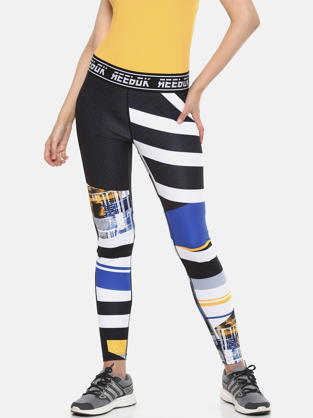 74ad993170 Reebok Women Black & White Striped Training Workout Meet You There  Engineered Tights