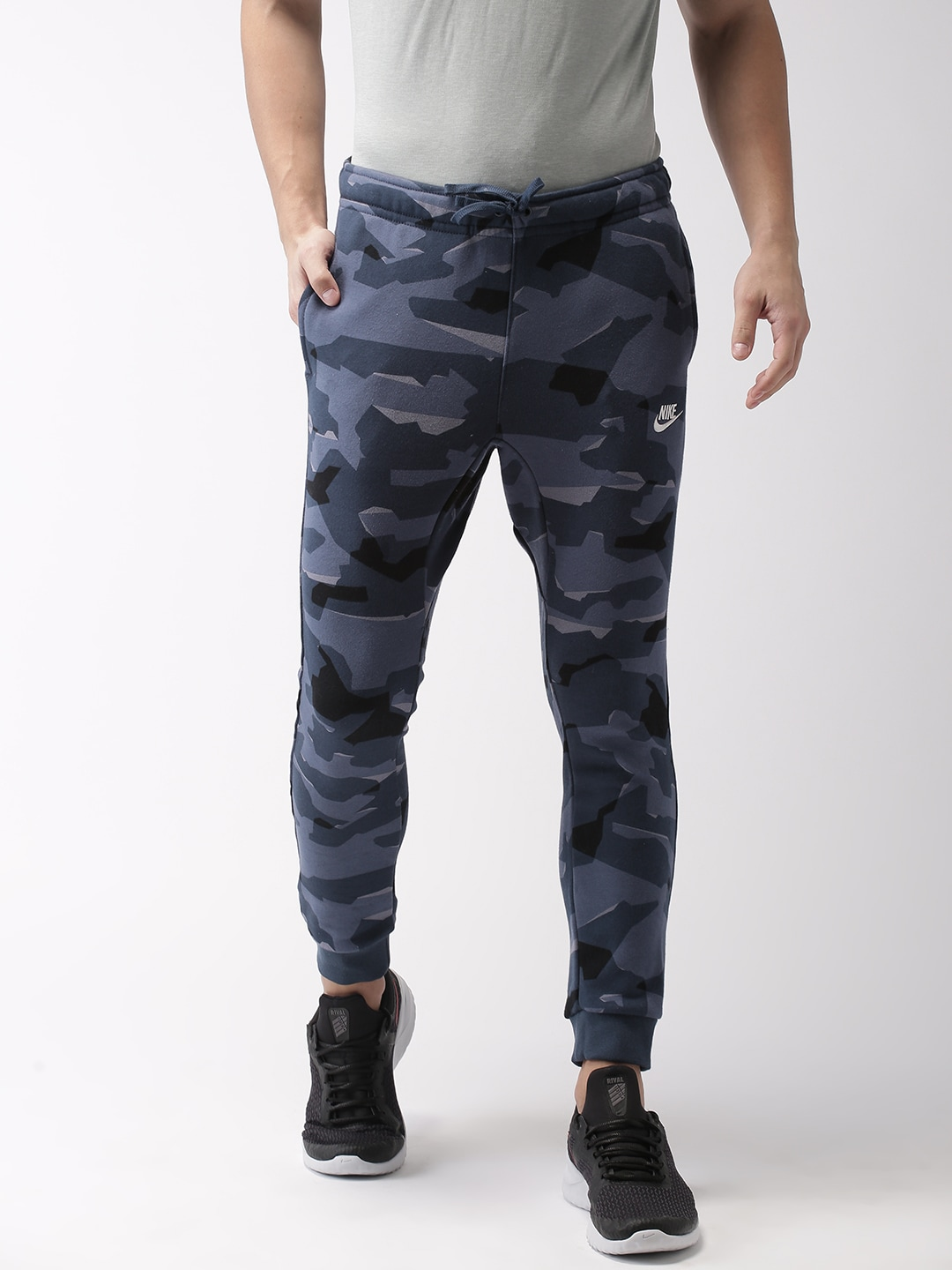 Nike Men Navy Blue Printed Standard Fit AS M NSW Club CAMO Joggers
