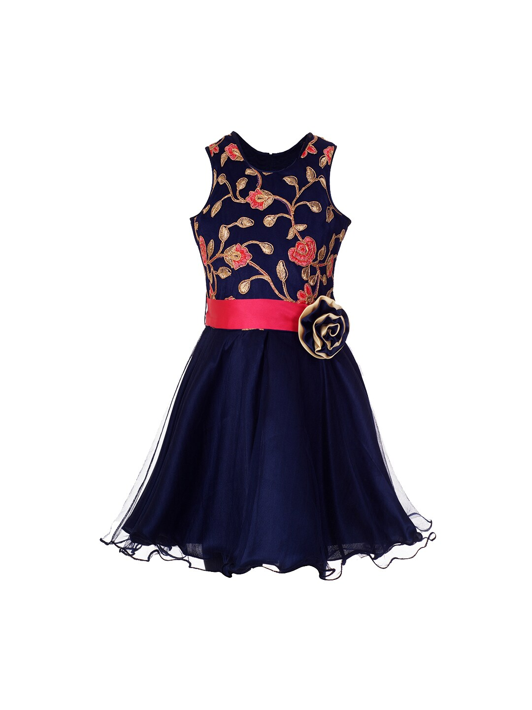 4901bc2cf naughty ninos Girls Navy Blue   Red Embroidered Fit and Flare Dress