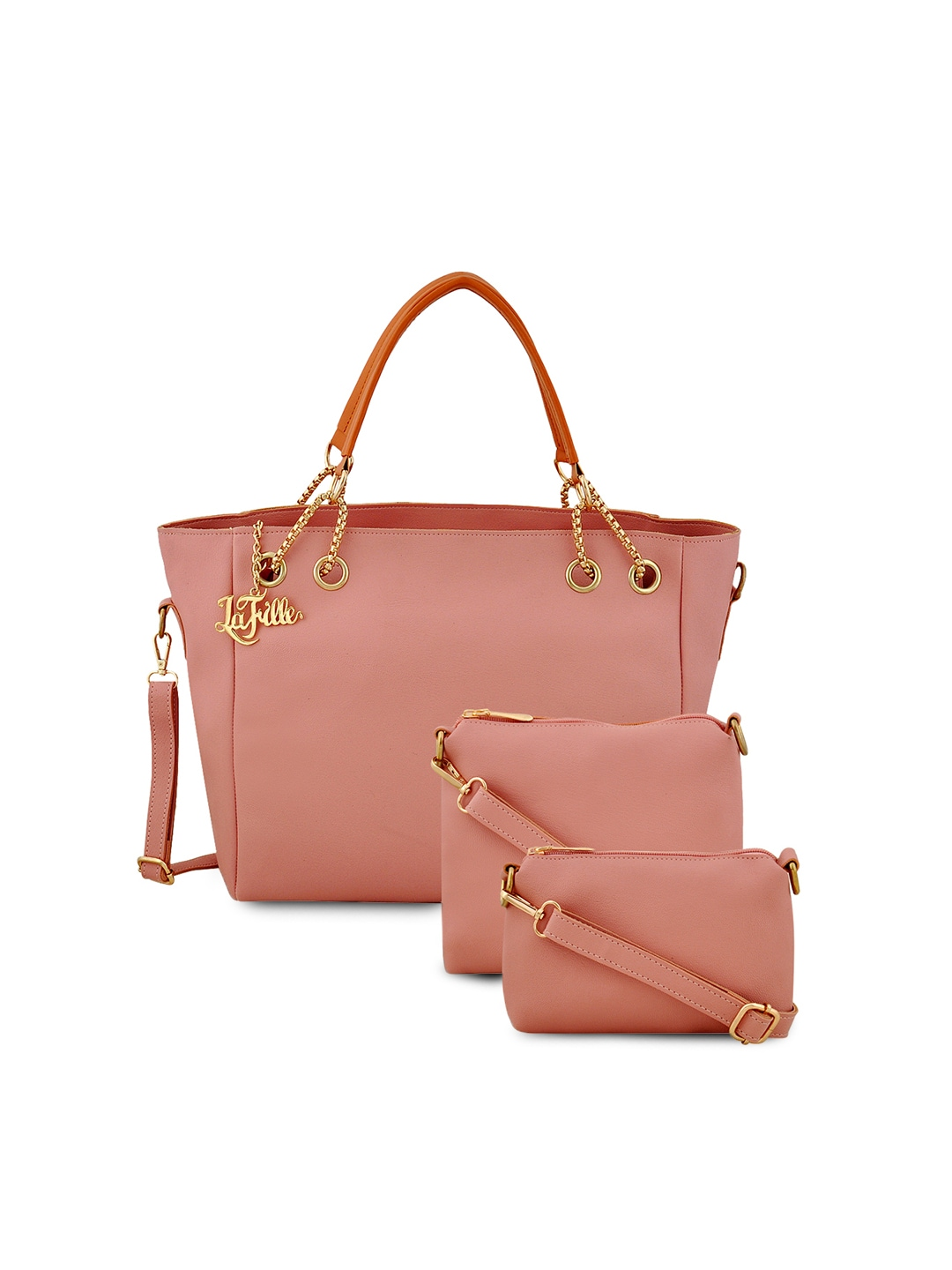 239d92ce76 LaFille Peach-Coloured Solid Tote Bag