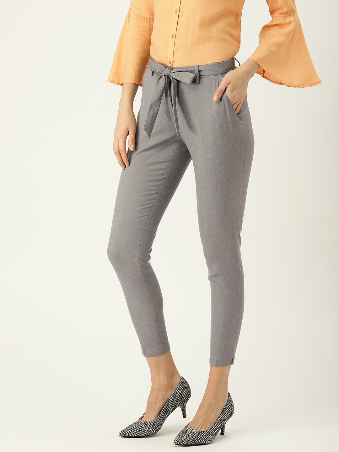 Park Avenue Woman Women Grey Tapered Fit Solid Formal Trousers