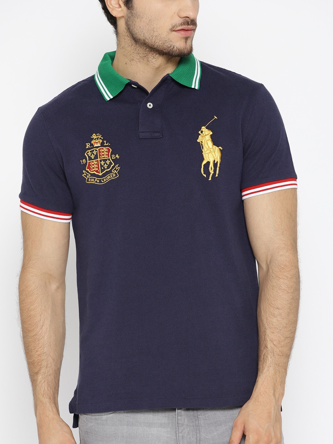 low price footwear wholesale outlet Polo Ralph Lauren Men Navy Blue Solid Polo Collar T-shirt