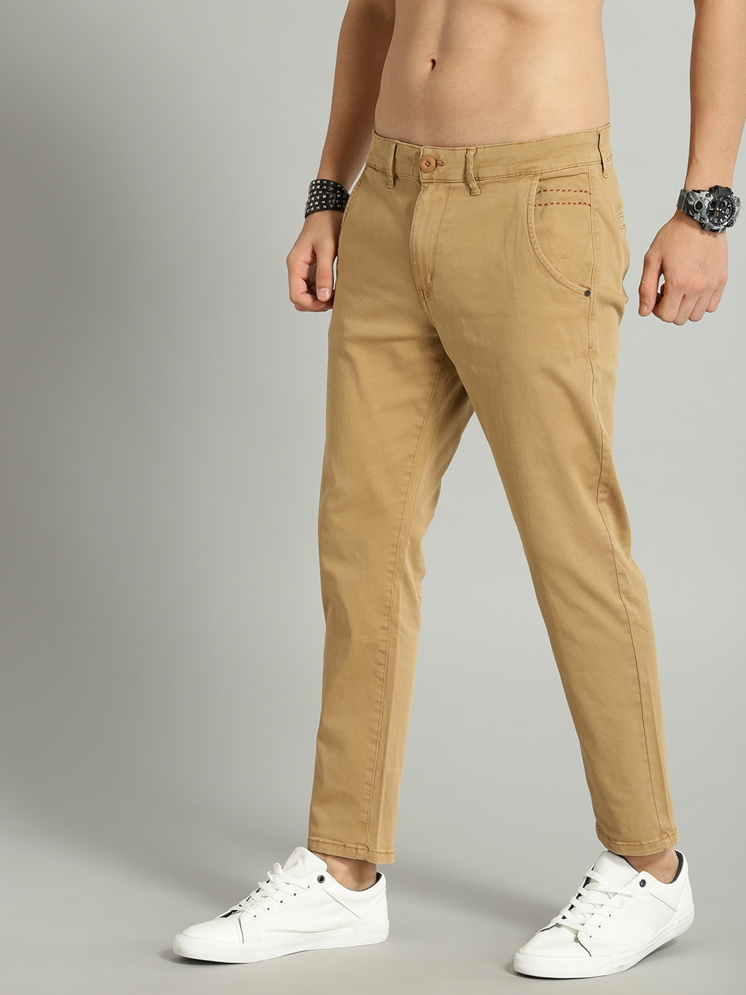Roadster Men Khaki Brown Solid Stretchable Cropped Chinos