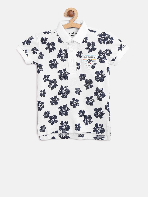 Tree Boys Navy Collar Floral Polo Shirt Whiteamp; Palm T Print 2IDHE9
