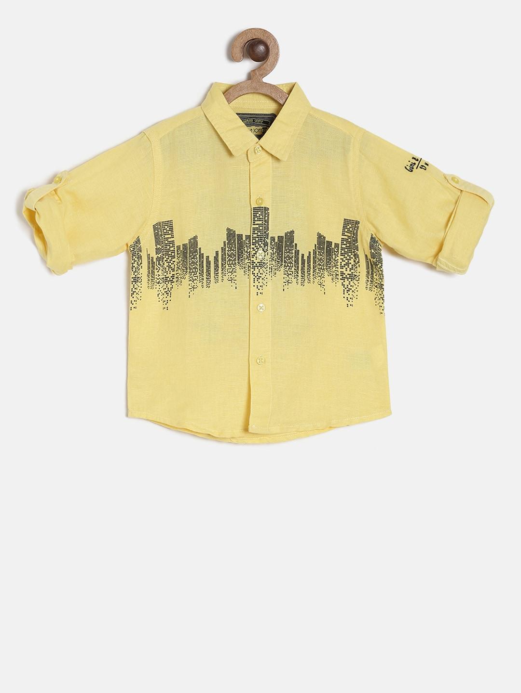amarilla estampada Jony Camisa Gini And casual Boys rCxtQdBsh