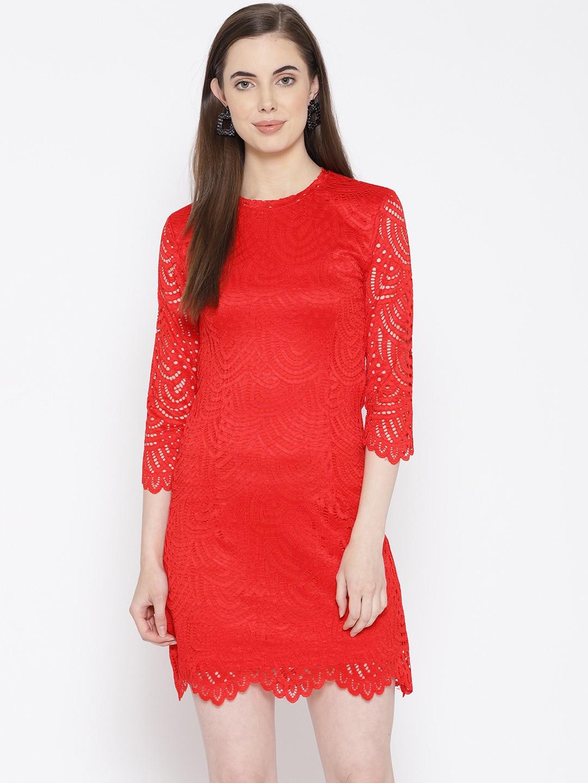 Lace Sheath Dress with Belt