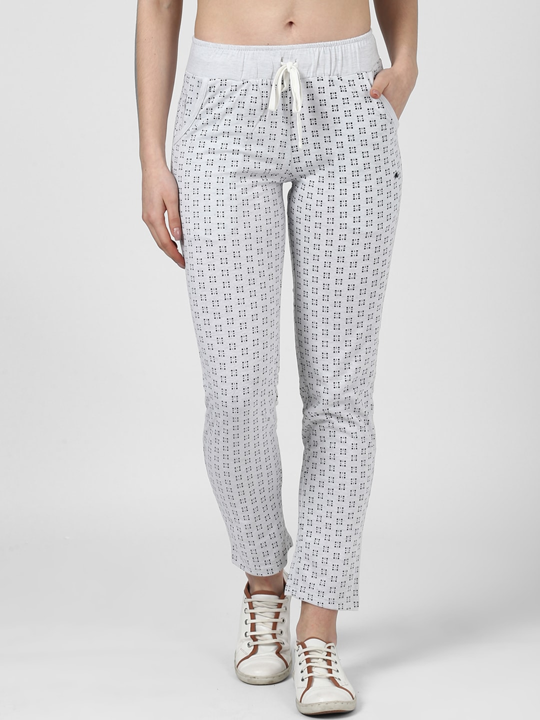 15693bb71fd Monte Carlo Women White Printed Striaght-Fit Trackpant