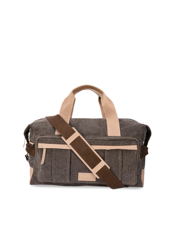 Phive Rivers Men Grey & Beige Leather Duffel Bag