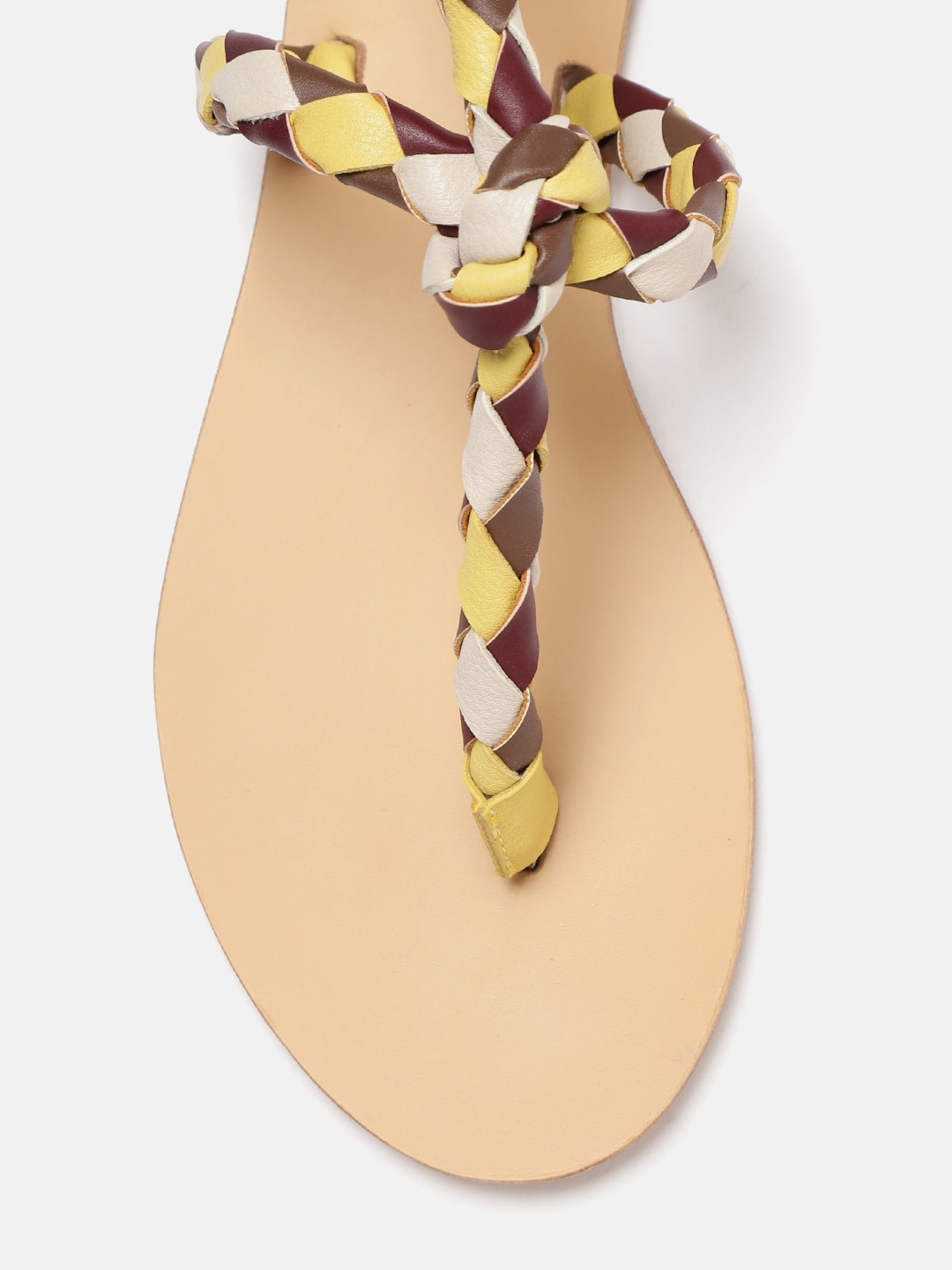 Mast & Harbour Women Yellow & Off-White Textured T-Strap Flats
