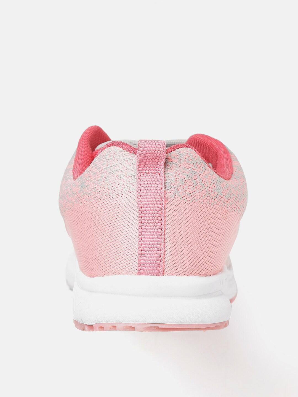 Crew STREET Women Grey & Pink Woven Design Running Shoes