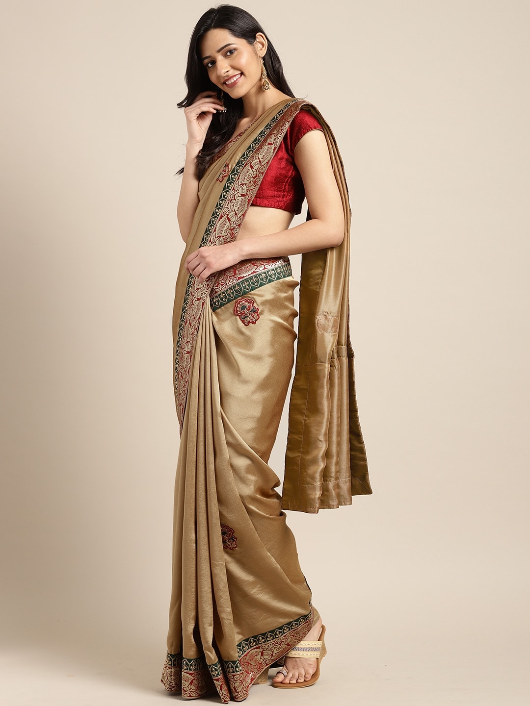 0e91b30774e10 Indian Women Beige & Gold-Toned Poly Silk Embellished Saree
