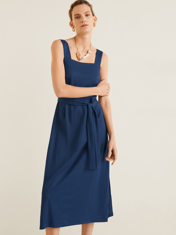 2092016dcf1 Floral Square Neckline Short Sleeve Midi A Line Dress - Gomes Weine AG