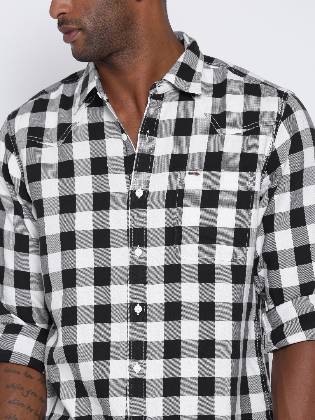 Black and white checkered blouse breeze clothing for Black and white checker shirt