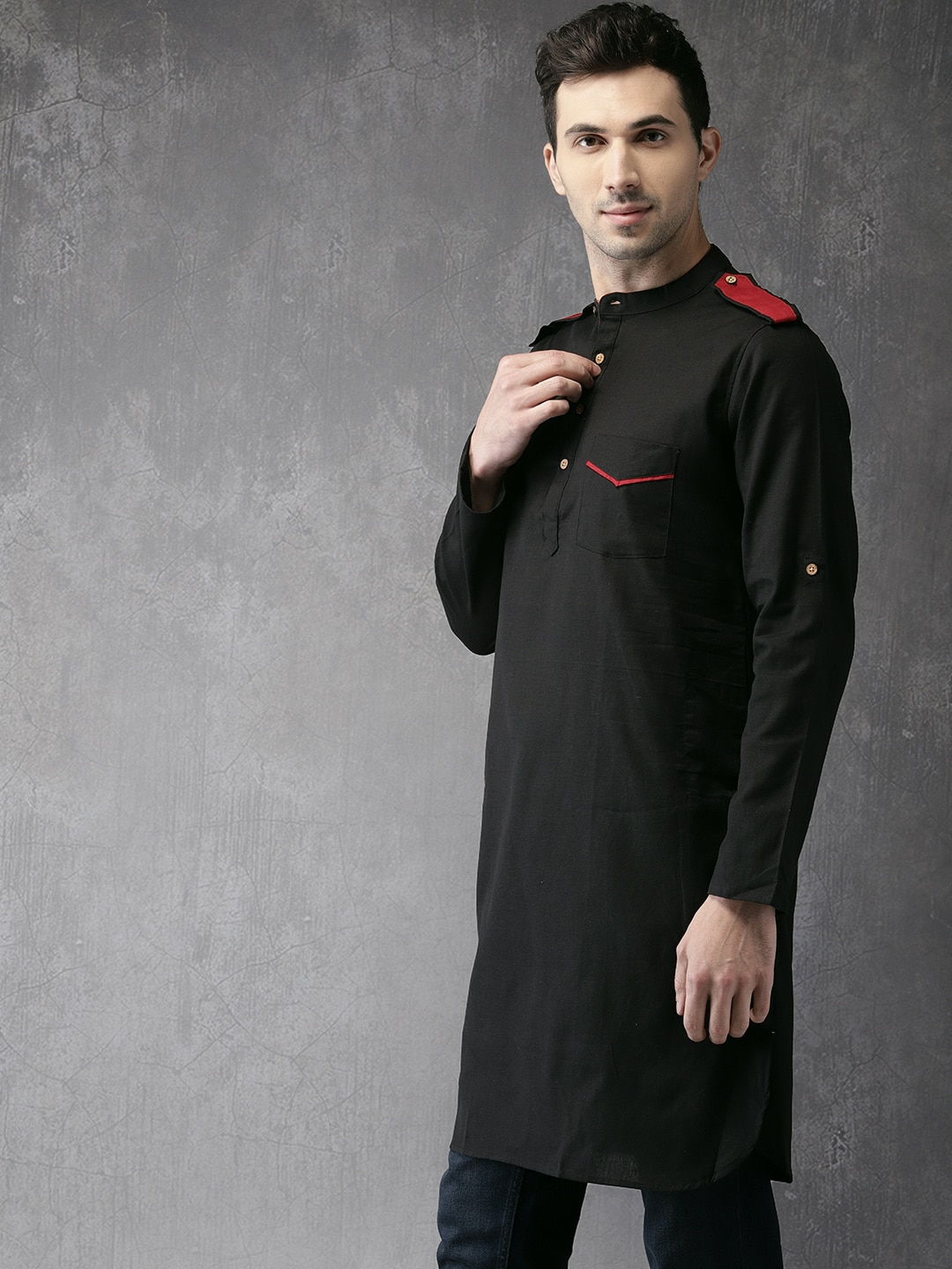 Anouk Men Black Solid Straight Kurta