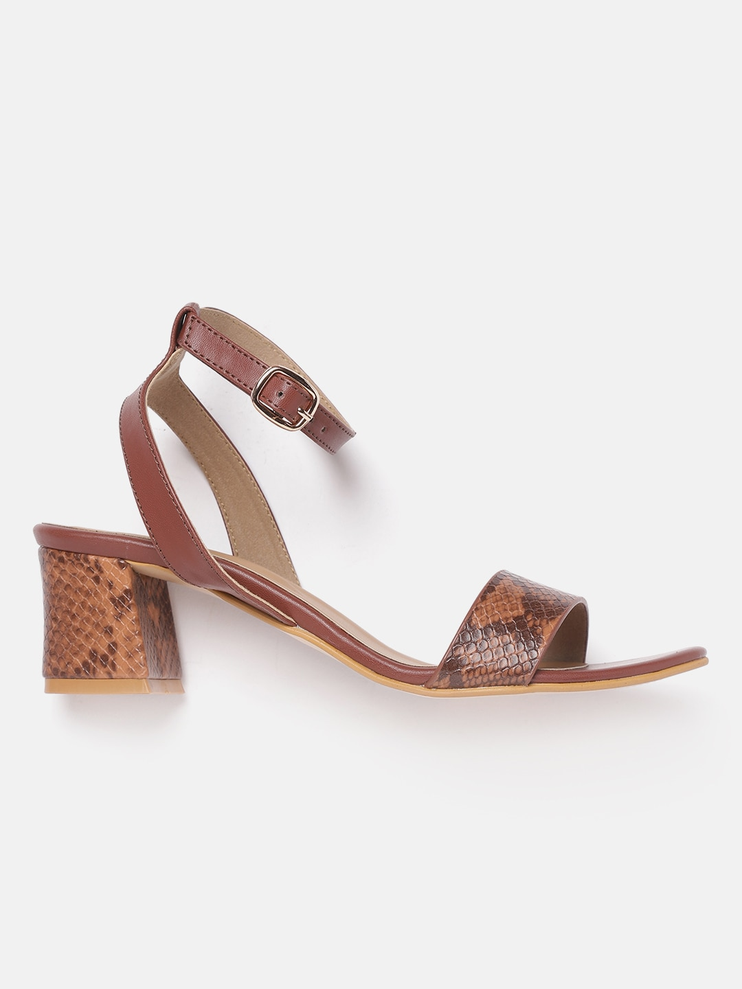 20Dresses Women Brown Snakeskin Pattern Block Heels