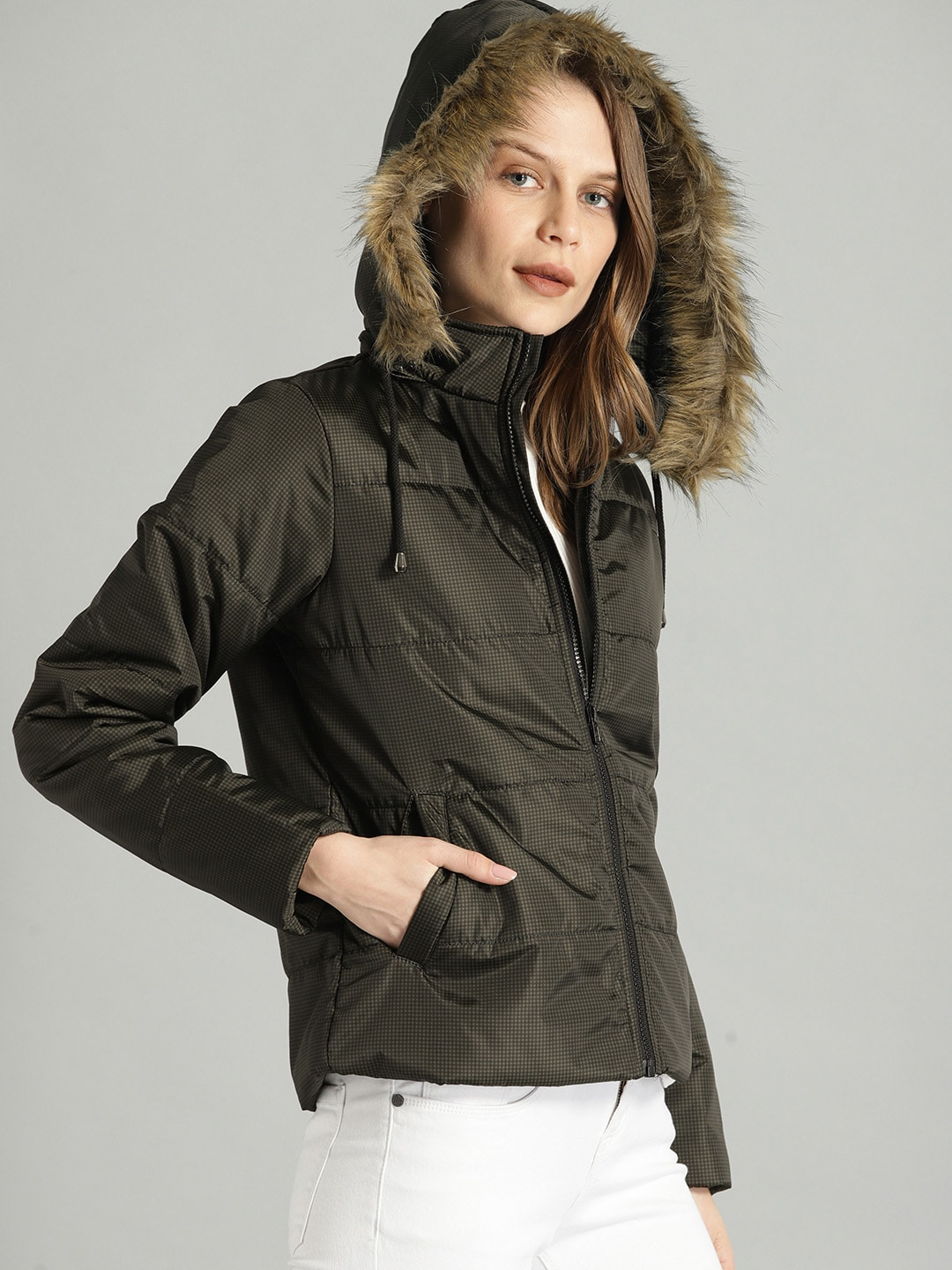 Roadster Women Olive Green & Black GINGHAM Checked Padded Jacket