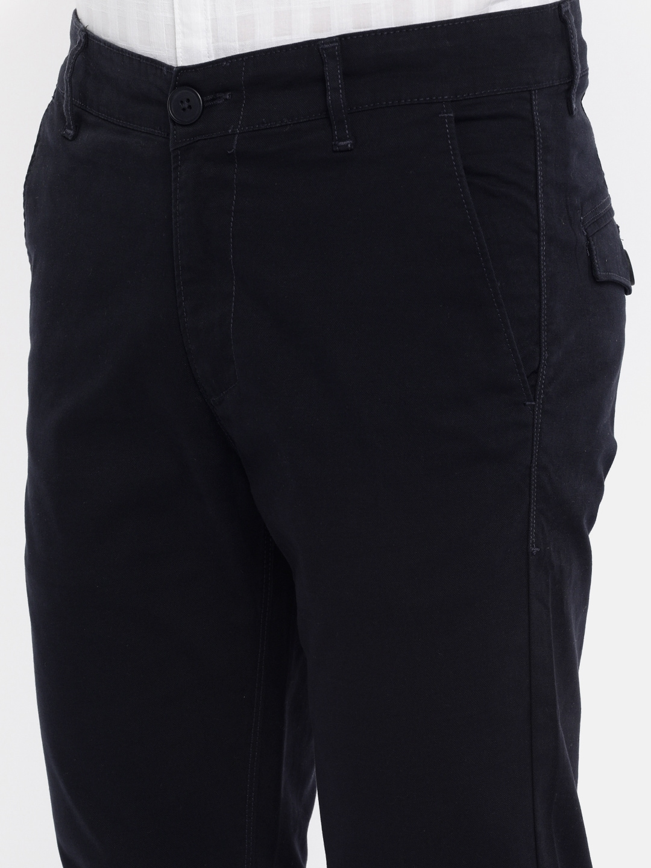 SPYKAR Men Navy Blue Slim Fit Solid Regular Trousers