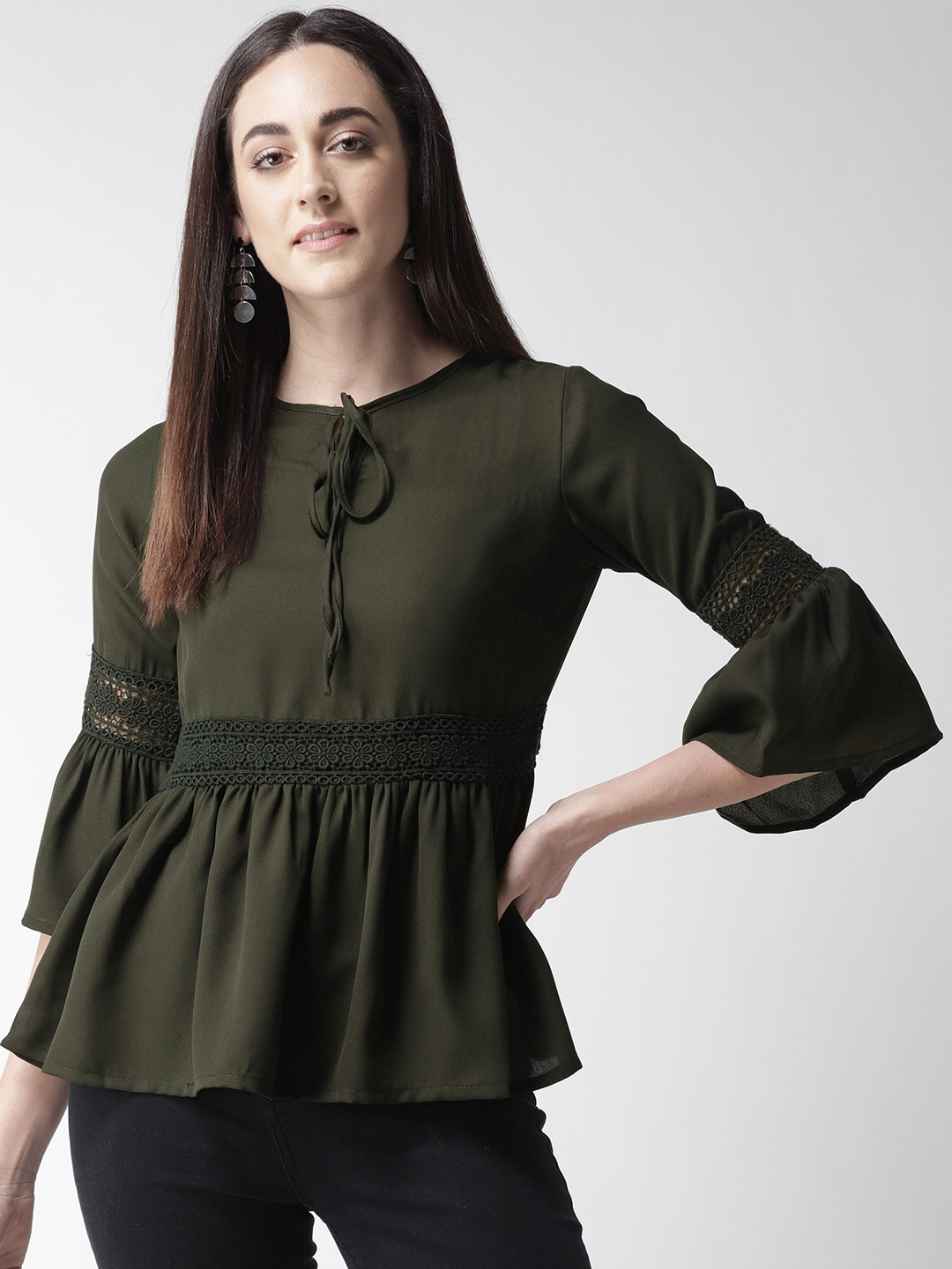 plusS Women Olive Green Solid A-Line Top