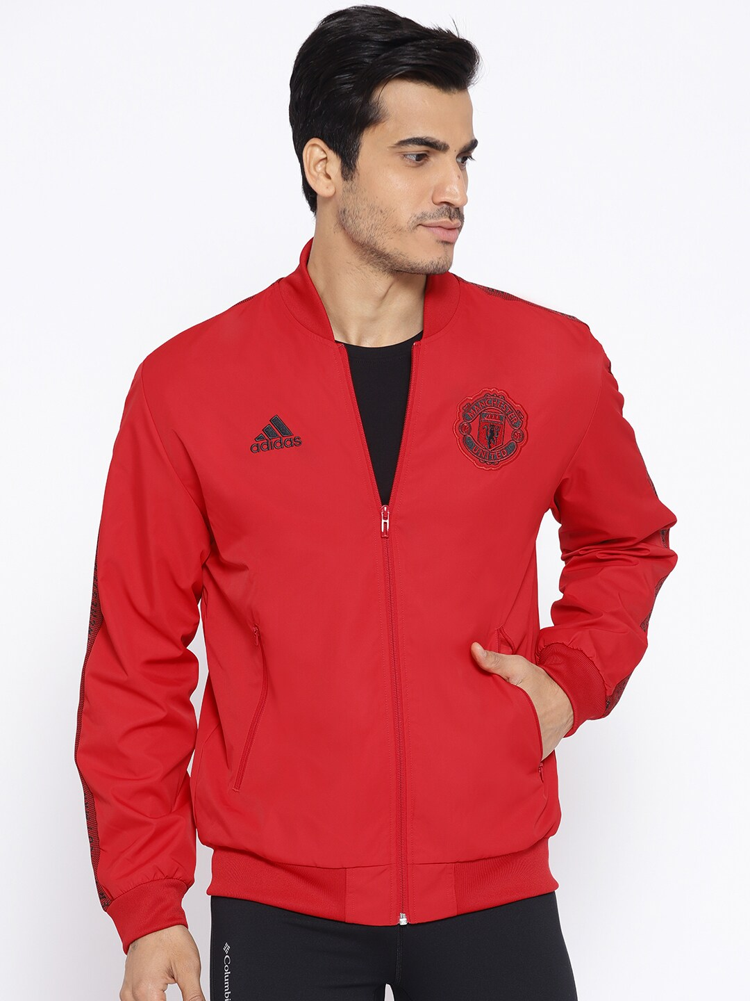 c376983ae7 ADIDAS Men Red Manchester United Anthem Solid Sporty Jacket